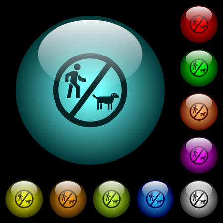 No dog walking icons in color illuminated spherical glass buttons on black background. Can be used to black or dark templates
