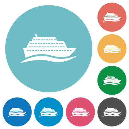 Cruise ship with wave flat white icons on round color backgrounds