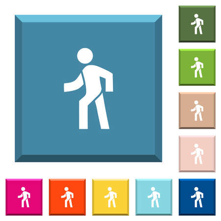 Man walking left white icons on edged square buttons in various trendy colors