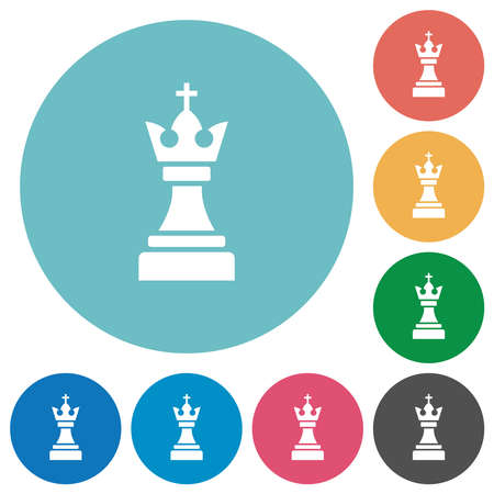 Black chess king flat white icons on round color backgrounds