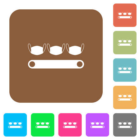 Mask manufacturing flat icons on rounded square vivid color backgrounds.