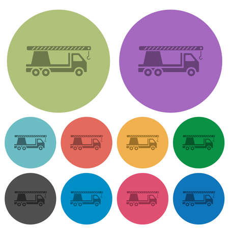 Crane truck darker flat icons on color round background Illustration