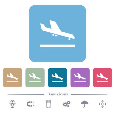 Airplane landing white flat icons on color rounded square backgrounds. 6 bonus icons included Иллюстрация