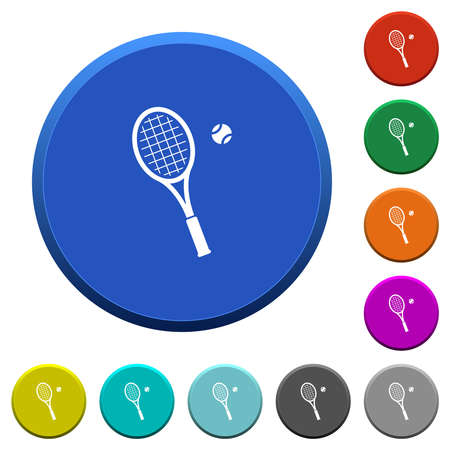 Tennis racket with ball round color beveled buttons with smooth surfaces and flat white icons