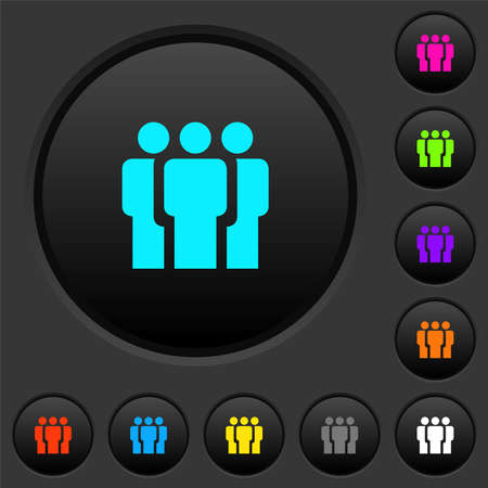 Team dark push buttons with vivid color icons on dark gray background