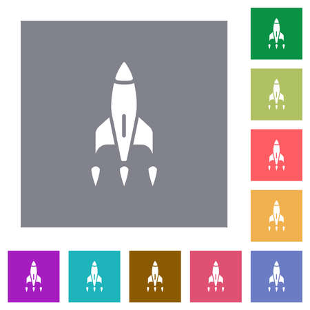 Rocket flat icons on simple color square backgrounds