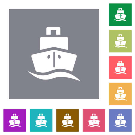 Cruise ship flat icons on simple color square backgrounds
