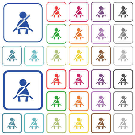 Car seat belt warning indicator color flat icons in rounded square frames. Thin and thick versions included.
