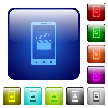 Smartphone movie cut icons in rounded square color glossy button set