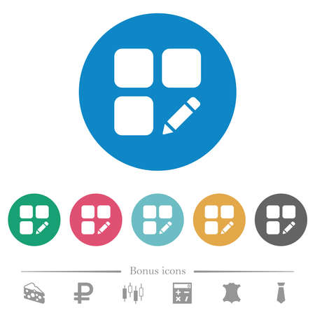 Rename component flat white icons on round color backgrounds. 6 bonus icons included.