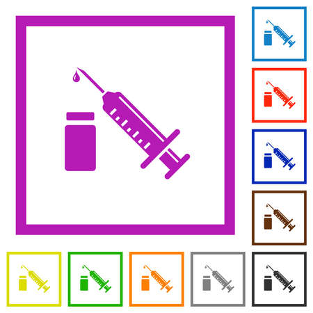 Syringe with ampoule flat color icons in square frames on white background