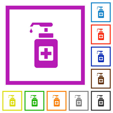 Hand sanitizer flat color icons in square frames on white background Illustration