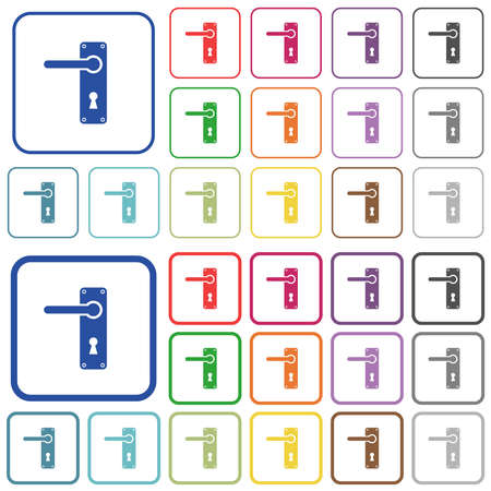 Left handed door handle with screws color flat icons in rounded square frames. Thin and thick versions included. Illustration