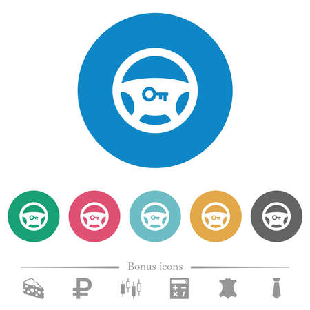 Steering lock flat white icons on round color backgrounds. 6 bonus icons included. Illustration