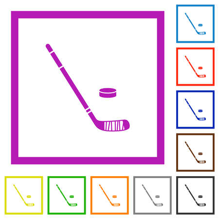 Hockey stick and puck flat color icons in square frames on white background Illustration