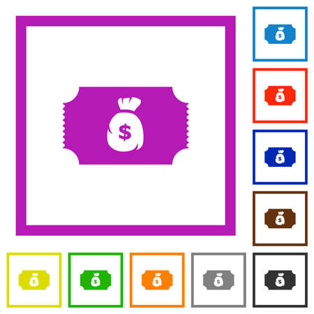 Ticket with dollar bag flat color icons in square frames on white background Illustration