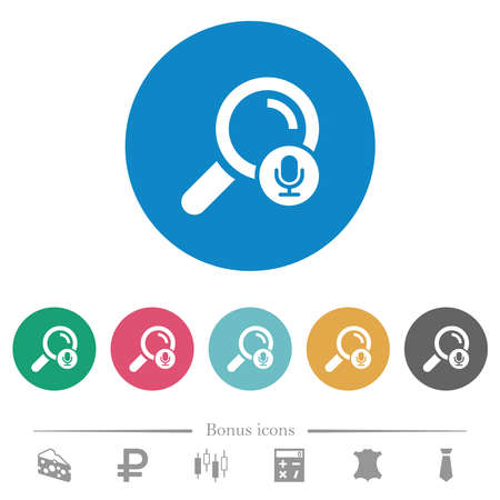 Voice search flat white icons on round color backgrounds. 6 bonus icons included.