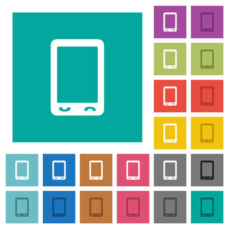 Mobile phone with blank display multi colored flat icons on plain square backgrounds. Included white and darker icon variations for hover or active effects. Illustration