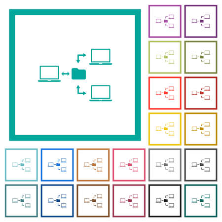 Network file system flat color icons with quadrant frames on white background