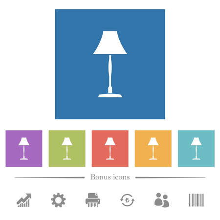 Standing lampshade flat white icons in square backgrounds. 6 bonus icons included. Illustration