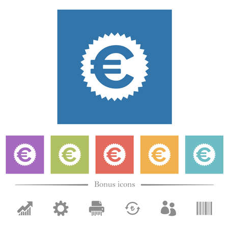 Euro sticker flat white icons in square backgrounds. 6 bonus icons included.