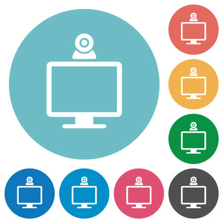 Monitor with webcam flat white icons on round color backgrounds