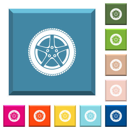 Car wheel white icons on edged square buttons in various trendy colors