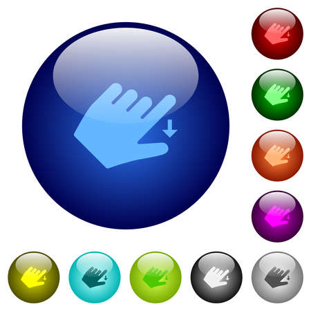 Left handed move down gesture icons on round glass buttons in multiple colors. Arranged layer structure
