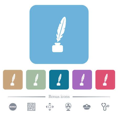 Feather in ink bottle white flat icons on color rounded square backgrounds. 6 bonus icons included