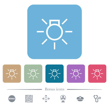 Car parking lights indicator white flat icons on color rounded square backgrounds. 6 bonus icons included Illustration