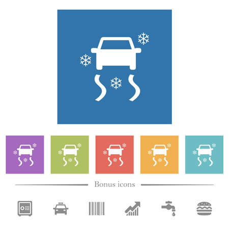 Snowy road dashboard indicator flat white icons in square backgrounds. 6 bonus icons included.