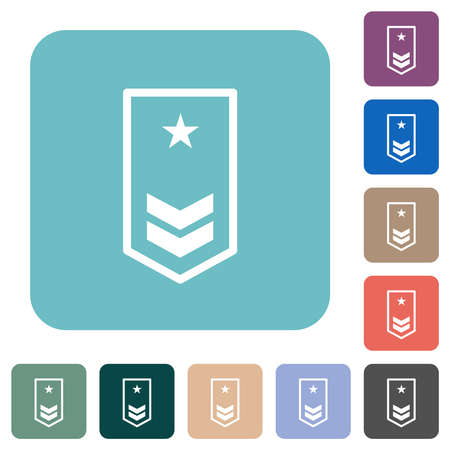 Military insignia with two chevrons and one star white flat icons on color rounded square backgrounds