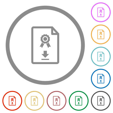 Download certificate flat color icons in round outlines on white background