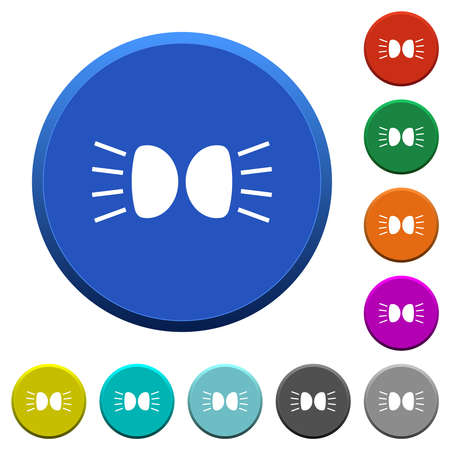 Car parking lights indicator round color beveled buttons with smooth surfaces and flat white icons