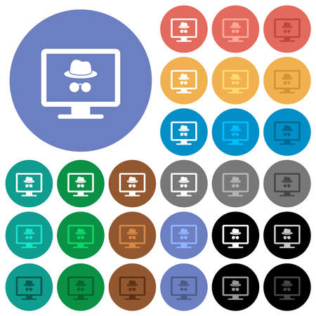 Monitor with incognito symbol multi colored flat icons on round backgrounds. Includes white, light and dark icon variations for hover and active status effects, and bonus shades.