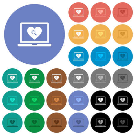 Online dating on laptop with multi colored flat icons on round backgrounds. Includes white, light and dark icon variations for hover and active status effects, and bonus shades. Illustration