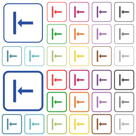 Align to left color flat icons in rounded square frames. Thin and thick versions included. Illustration