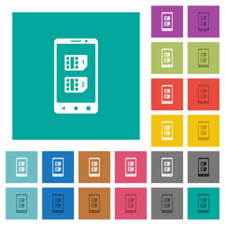 Dual SIM mobile multi colored flat icons on plain square backgrounds. Included white and darker icon variations for hover or active effects.