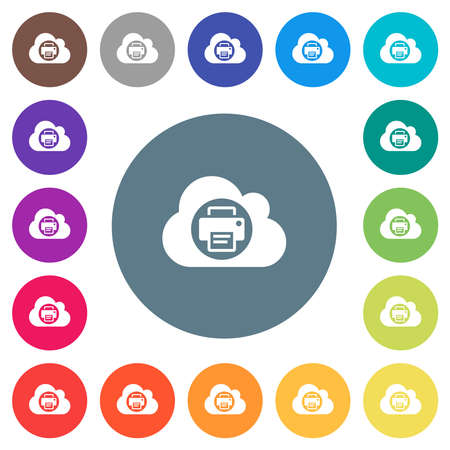 Cloud printing flat white icons on round color backgrounds. 17 background color variations are included.