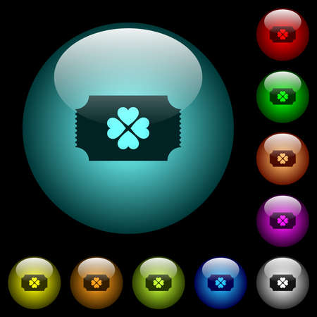 Lottery ticket icons in color illuminated spherical glass buttons on black background. Can be used to black or dark templates