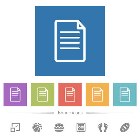 Single Document flat white icons in square backgrounds. 6 bonus icons included.