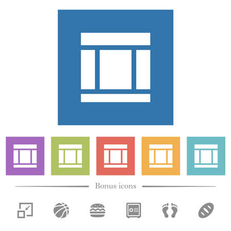 Three columned web layout flat white icons in square backgrounds. 6 bonus icons included.