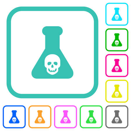 Dangerous chemical experiment vivid colored flat icons in curved borders on white background