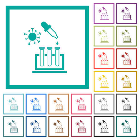 Covid research flat color icons with quadrant frames on white background