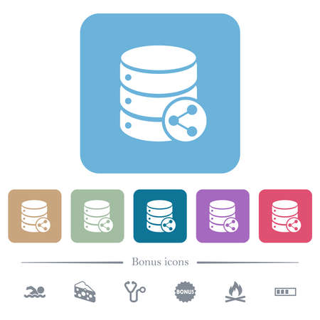 Database table relations white flat icons on color rounded square backgrounds. 6 bonus icons included