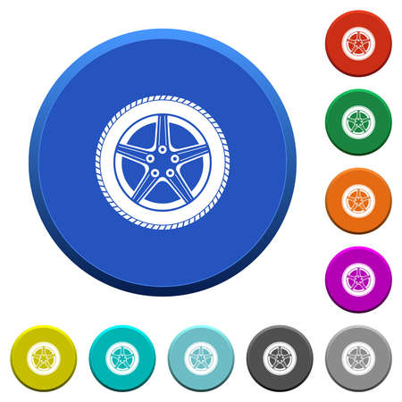 Car wheel round color beveled buttons with smooth surfaces and flat white icons Vettoriali