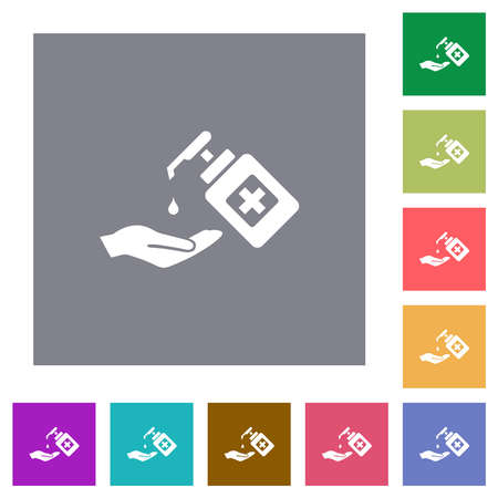 Hand washing with hand sanitizer flat icons on simple color square backgrounds