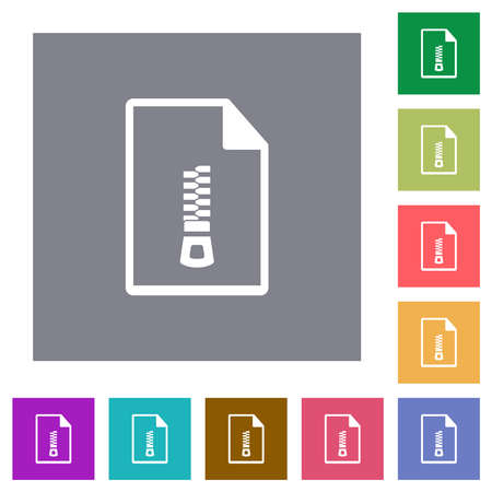 Compressed document flat icons on simple color square backgrounds