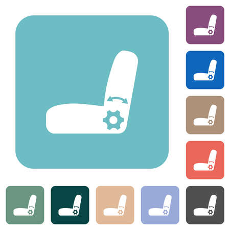 Car seat adjustment white flat icons on color rounded square backgrounds