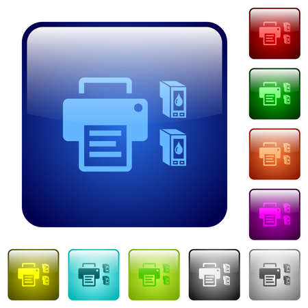 Printer and ink cartridges icons in rounded square color glossy button set